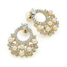 STUNNING 3cm Shiny Gold Tone - Diamante Crystal & Faux Cream Pearl Stud Earrings