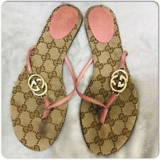 GUCCI Double GG Pink Thong Flip Flop Flat Sandals Size 7.5