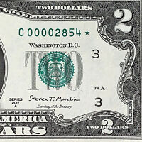 Rare Uncirculated Very Low ⭐️ STAR NOTE ⭐️ 2017 $2 Dollar Fancy Serial Number