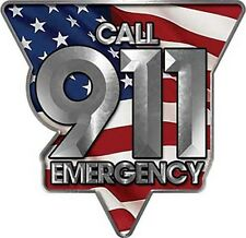 """Emergency Call 911 Police Fire EMS Decal American Flag 6"""" REFLECTIVE LE01"""