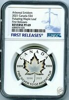 2021 $4 1/2 OZ CANADA SILVER PULSATING MAPLE LEAF NGC PF69 REV PROOF POP ONLY 6