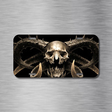 Horned SKULL License Plate Front Auto Tag Plate Skeleton Zombie Goat Ram Zombie