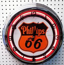 "17"" PHILLIPS 66 Sign Gasoline Motor Oil Gas Station Neon Clock"