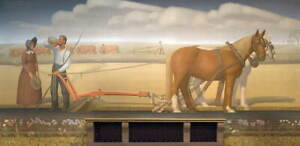 Grant Wood Breaking the Prairie Sod Poster Reproduction Giclee Canvas Print