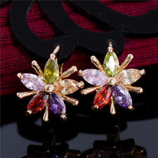Pretty New 18K Gold Rose Gold Plated Multi-Color Gem Flower Huggie Hoop Earrings