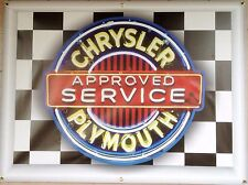 CHRYSLER PLYMOUTH APPROVED SERVICE NEON STYLE BANNER SIGN GARAGE ART 4' X 3'