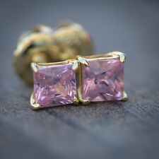 Pink 14k Gold Princess Cut Lab Simulated Diamond Solitaire Stud Earrings