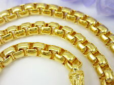 """HEAVY MEN'S BAHT CHAIN 26"""" BOX LINK NECKLACE 22K 24K Yellow Gold GP Jewelry GT5"""