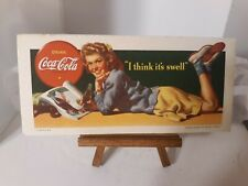 Vtg 1942 Coca Cola Original Advertising Ink Blotter Litho Coke  Cardboard Card
