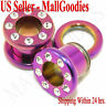 0973 Surgical Steel Hot Pink Color Screw-on CZ Tunnels 0 Gauge 0G Ear Plugs 8mm