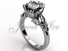 Platinum Leaf and Vine Forever one Moissanite Flower Engagement Ring ERMZ-1033