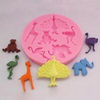 3D Zoo Fondant Cake Mold Mould Jungle Animal DIY Silicone Sugarcraft Baking - S