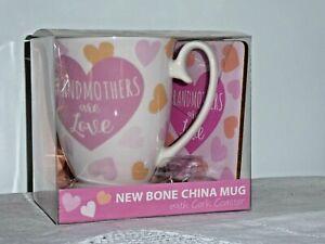 Grandmothers Are Love Bone China Mug Cup & Cork Coaster Pink Hearts