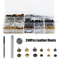 240pcs Leather Double Cap Rivets Tubular Metal Studs 2 Sizes + 3pcs Fixing tools