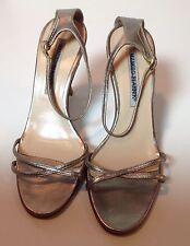 Manolo Blahnik Patinum Ankle Strap Heels Size 36 Excellent Beautiful Shoes