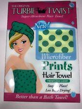 The Original Turbie Twist Microfiber Green Poka Dot print Hair Towel NIP