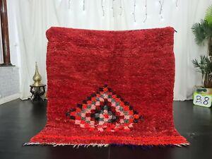 Moroccan Vintage Handmade Rug 4'5x4'5ft Geometric Red Tribal Wool Berber Rug