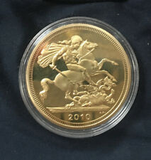 More details for five pounds - sovereign *2010* gold plated coin / british coin / with coin case