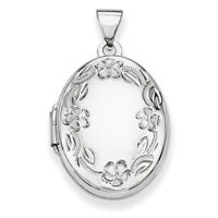14k White Gold 21mm Oval Leaf Floral Scroll Border H/Eng Locket XL534
