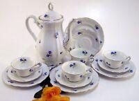 Teeservice Oscar Schaller Bavaria Krone 13 teilig weiß blaue Blumen