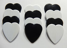 12pk Solid White & Black Heart Shaped Guitar Picks - Heavy gauge - Blank pics