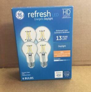 GE LED LIGHT BULB DAYLIGHT CRYSTAL CLEAR HD RREFRESH A19 40W (4 BULBS)