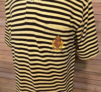 Polo Ralph Lauren Men's Shirt Crown Crest Short Sleeve Blue Yellow Stripes L