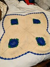 New listing Handmade Crocheted Lap Cover/Baby Blanket. Cream With 3D/Raised Royal Blue Roses
