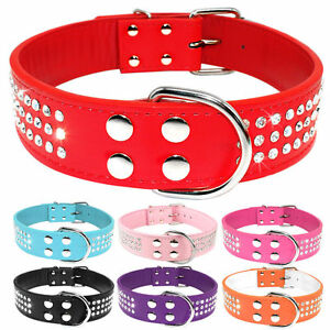 3 Rows Bling Rhinestone Leather Studded Pet Dog Collars Fancy Diamante 7 Colors