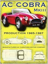 AC Cobra MK3 Classic Muscle Sports Car American Old Garage Large Metal/Tin Sign