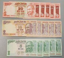 India 5,10,20 Rupee X 5 (15 Notes) Consecutive Serial Banknotes...