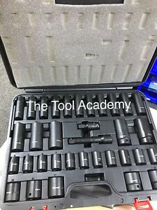 (SBS) Sealey Air Impact Wrench Socket Set 34 Piece 1/2 Square Drive 10 - 32mm