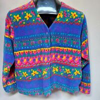 Rei Women's V-Neck Metal Button Floral Cardigan Ribbed-Knit Sweater Colorful