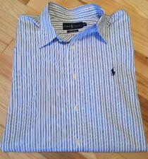 Men Polo Ralph Lauren Blue Striped Long Sleeve Button Up Shirt Sz 17 (XL)