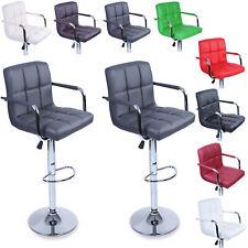 TRESKO 2 x Bar Stools Faux Leather Swivel Kitchen Lounge Breakfast Stools Chairs