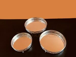 Set 3 Silver Metal Mirror Candle Plate Decorative Tray Centerpiece Perfume Tray