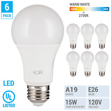 6 Pack LED Bulbs 15W 100W 120V A19 E26 Non-Dimmable 1500 Lumens 2700k Warm White