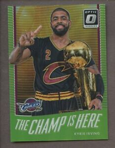 2017-18 Donruss Optic Green Prizm Champ Is Here Kyrie Irving Cavaliers 124/175