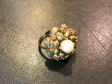 Vintage Gold Tone Ring with Faux Pearl and Stones, adjustable size 7.5