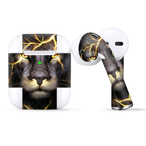Skins Wraps compatible for Apple Airpods  lion gold lightening fierce