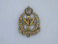 Original Early Wwi New Zealand Expeditionary Force Cap Badge - Oak Leaves