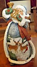 "Roman Inc 12"" Santa Figurine w/ Horn and Elaborate Deer Design"