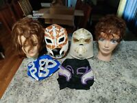 Lucha Libre Mask WWE Style Wrestling Mask With Laces Lot mannequin heads stands