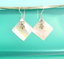"1"" Mother of Pearl Shell Pure 925 Bali Sterling Silver Handmade Drop Earring"