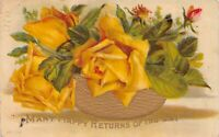 """Vintage Embossed """"Many Happy Returns Of The Day """" 1900's Postcard"""