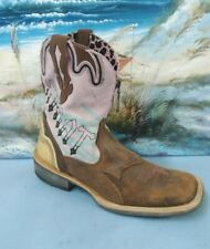 ARIAT WOMENS 9 B Brown /PINK 10006852 Square Toe WESTERN Cowgirl Ride BOOTS