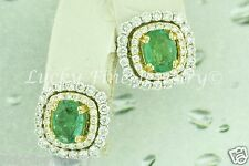 2.92 ct 18k 2 tone Gold Natural Colombian Emerald & Diamond Stud Earring May