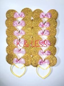 Minnie Mickey Mouse Ears Headbands 12pc Shiny Gold with Pink Bow Birthday Party