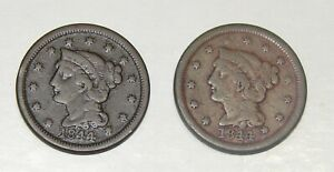 LOT OF 2 1844 LIBERTY BRAIDED HAIR LARGE CENTS 1C