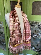 Vintage Burberry Velvet Scarf Pink Evening